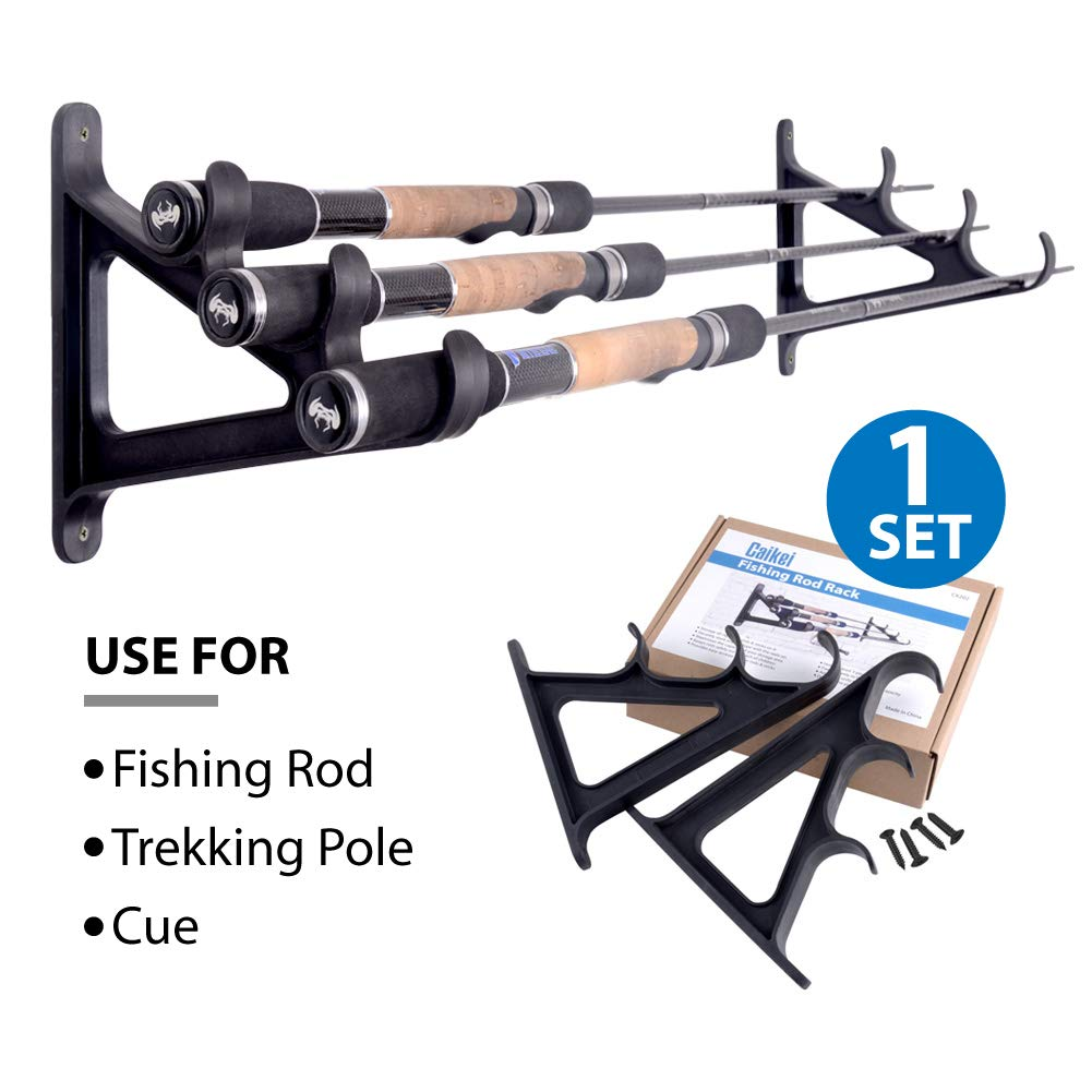 Horizontal Rod Rack for Fishing Rod Wall Rack Storage- Ultra Sturdy Holds at Least 3 rods- Space Saving for Fishing Rods,Hiking Poles, Ski Poles, Hockey Sticks and Cue CAIKEI