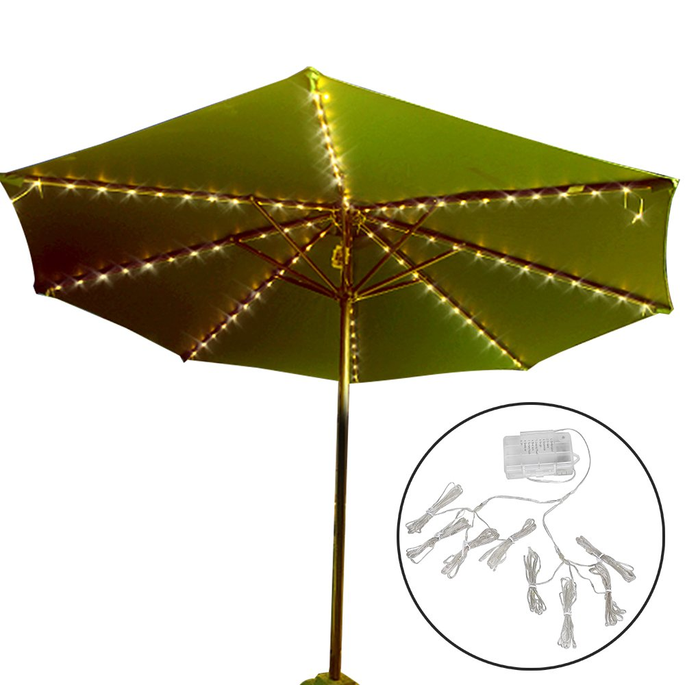Patio Umbrella Lights, Koffmon 8 Lighting Mode 112 LED with Remote Control Umbrella Lights Battery Operated Waterproof Outdoor Lighting, for Patio Umbrellas/Outdoor Use/Camping Tents (Warm White)