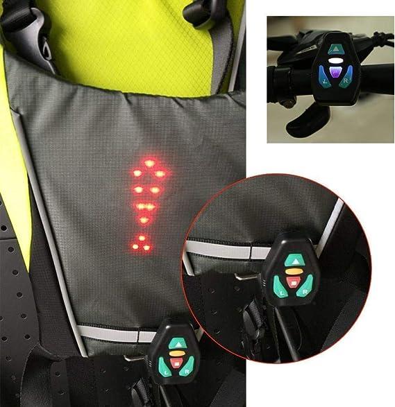4 Modos LED Indicador de Direcci/ón Reflectante Chaleco de Seguridad Impermeable USB Recargable con Control Remoto para Actividades Nocturnas Aire Libre Boblov LED Reflectante Chaleco Bicicleta Gris