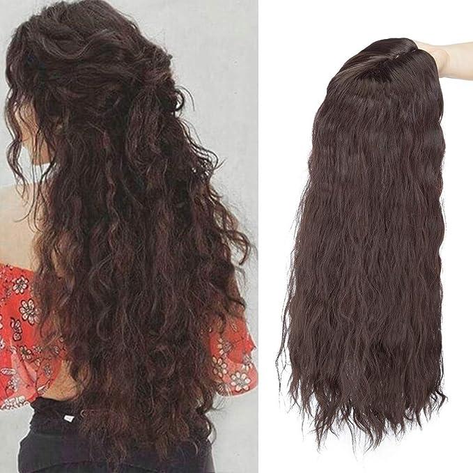50cm Prótesis Capilar Mujer Rizado [Castaño Oscuro] (150g): Amazon.es: Belleza