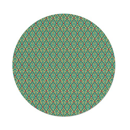 - Polyester Round Tablecloth,Turquoise,Vintage Oval Shapes Floral Leaves Arrangement Flourishing Nature Illustration Decorative,Blue Tan Pink,Dining Room Kitchen Picnic Table Cloth Cover,for Outdoor In