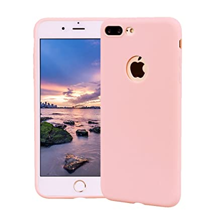 Funda iPhone 8 Plus, Carcasa iPhone 8 Plus Silicona Gel, OUJD Mate Case Ultra Delgado TPU Goma Flexible Cover para iPhone 8 Plus - Rosa