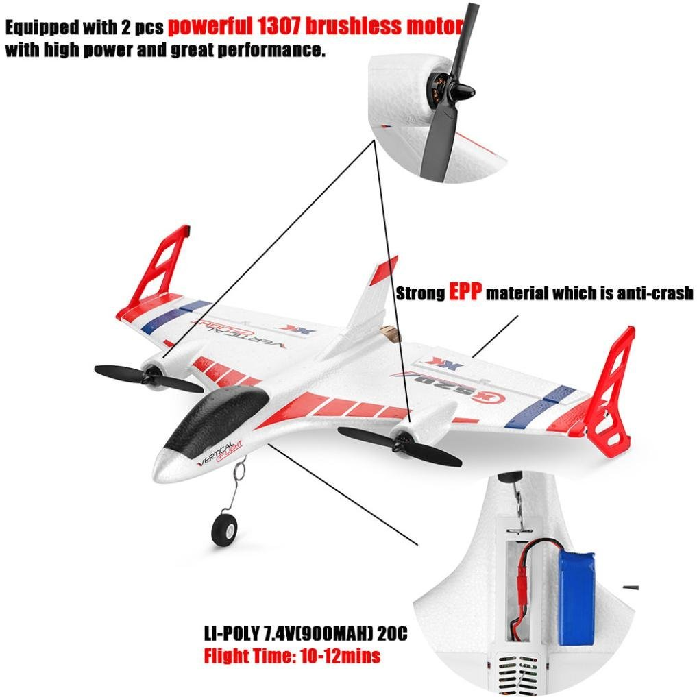WLtoys XK X520 2.4G 6CH 3D/6G Airplane Vertical Takeoff Land Delta Wing RC Glider by Dreamyth (Image #2)