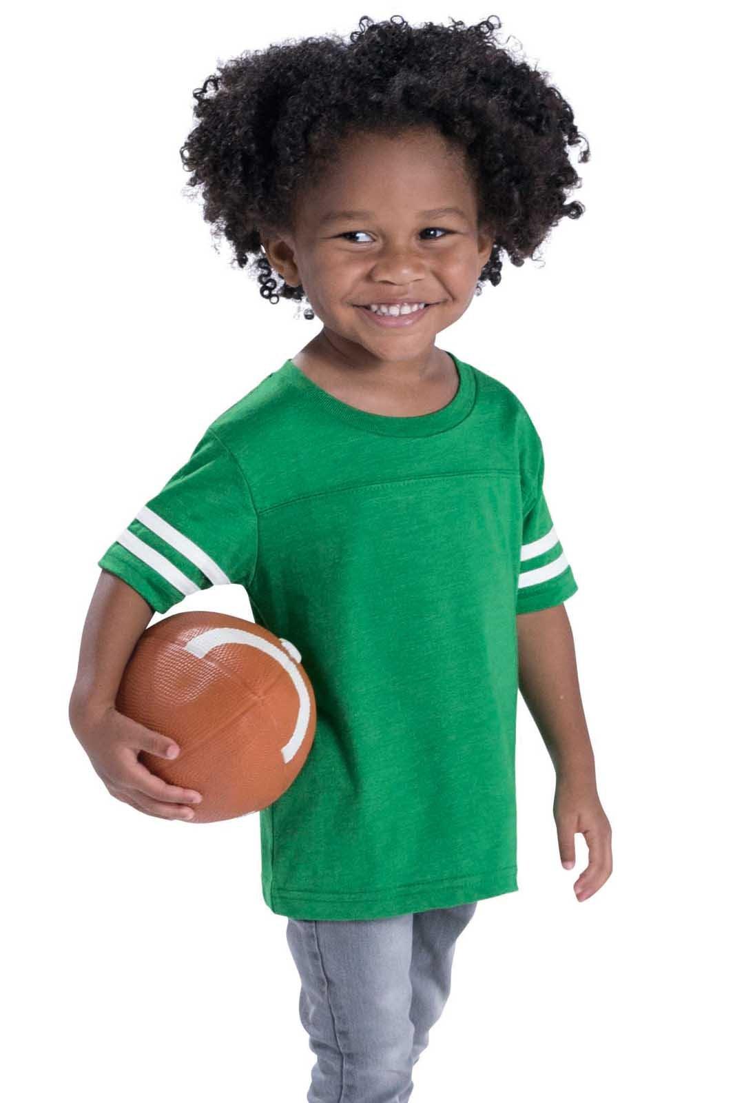 Rabbit Skins Toddler Fine Jersey Short Sleeve Football Tee (Granite Heather/Vintage Smoke, 4 Toddler)