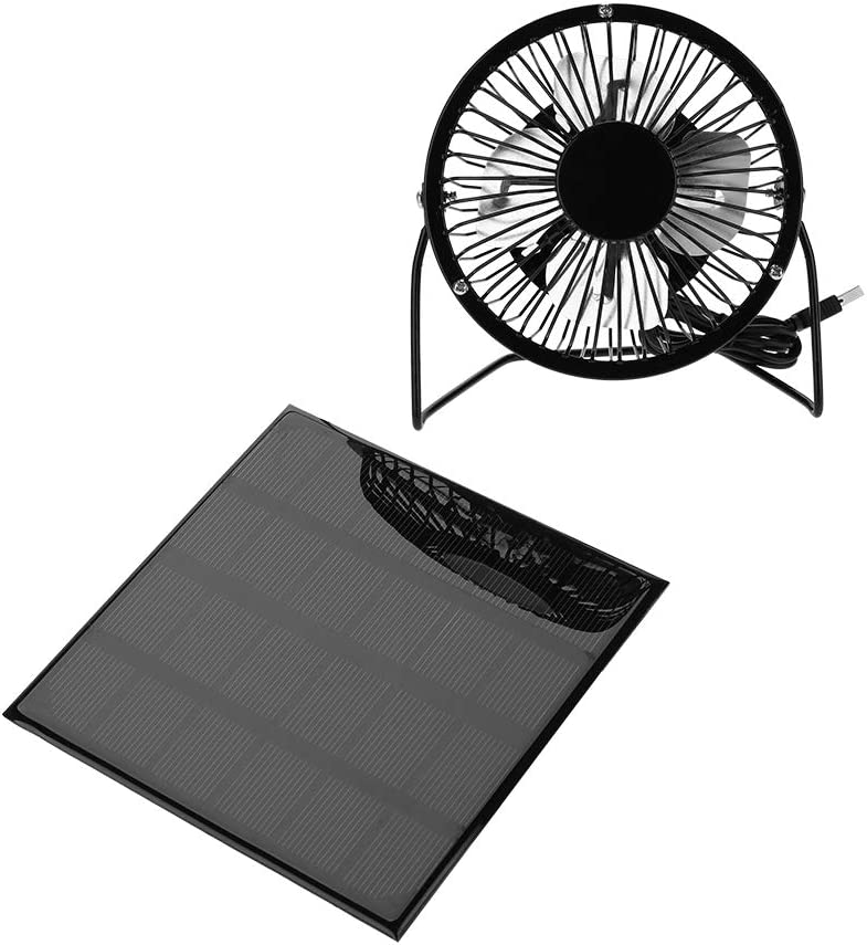 Haokaini 3W 6V Solar Panel Powered Fan Portable Mini Fan USB Cooling Kit Accessory for Camping Travel