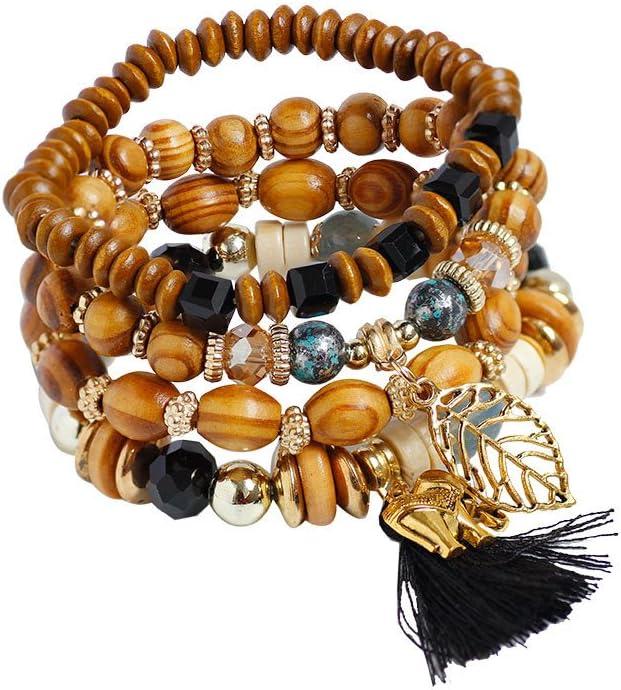 Rice Beads Mixed Color Bracelet,Lefthigh Fashion 1Set//4PCS Stretch Acrylic Beaded Bohemian Lady Bangle