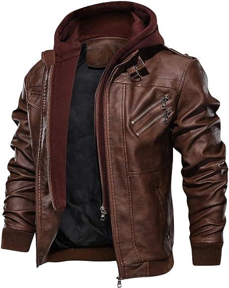 Eoeth Mens Long Sleeve ZipperJackets Pure Leather Coat Classic Comfortable Outwear Windbreaker Sweaters