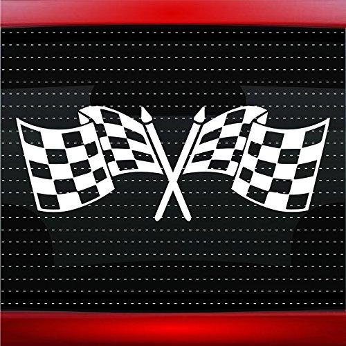 Noizy Graphics Checkered Flags Racing Car Sticker Truck Window Vinyl Decal Blue