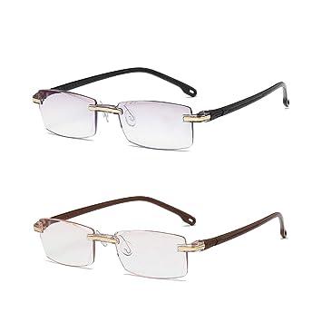 fa7541afb739 Blue Light Blocking Reading Glasses 2 Pack Lightweight Rimless Frame for  Men   Women (Black