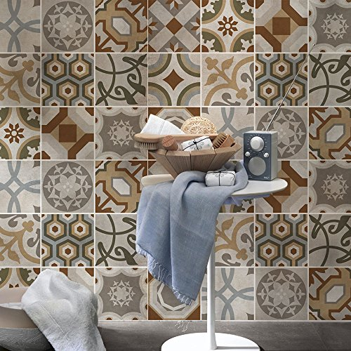 wall art PS00173-P – Bogotta – Decorative Tile Stickers for Bathroom and Kitchen – Adhesive Tile Adhesive, vinyl, 20×20…