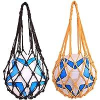 FSDELIV 2 bolsas de malla de nailon para bolas, para voleibol, rugby, etc., portátil, para fútbol, baloncesto, playa…