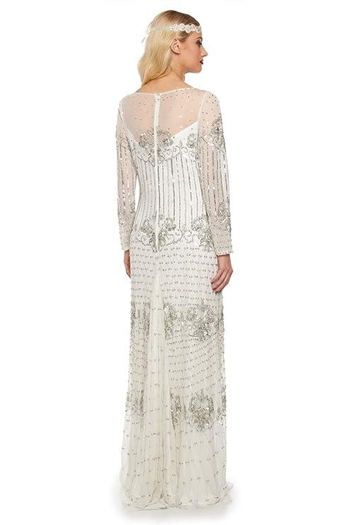 Dolores Vintage Inspired Wedding Prom Dress in White: Amazon.co.uk: Clothing
