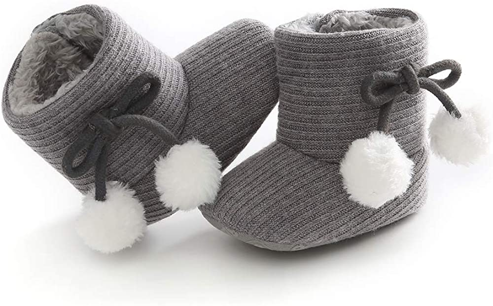 Infant Soft Sole Bow Anti-Slip Mid Calf Warm Winter Prewalker Ankle Buckle Snow Boot for Girls and Boys LIVEBOX Baby Boots