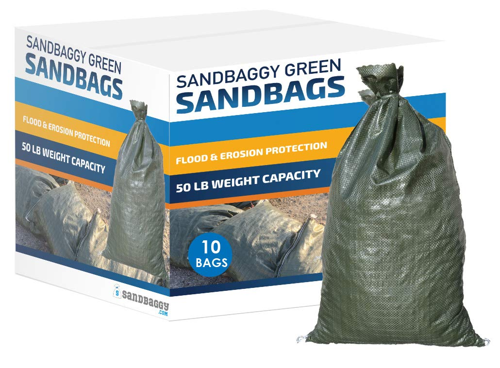 Empty Poly Sandbags W// UV Protection Size: 14 x 26 Color: Green Military Grade Sandbaggy 50 Bags