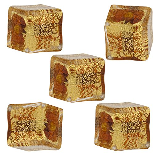 (Brown Cracked Gold Foil Cube 10mm, 5 Pieces Authentic Murano Glass Bead)