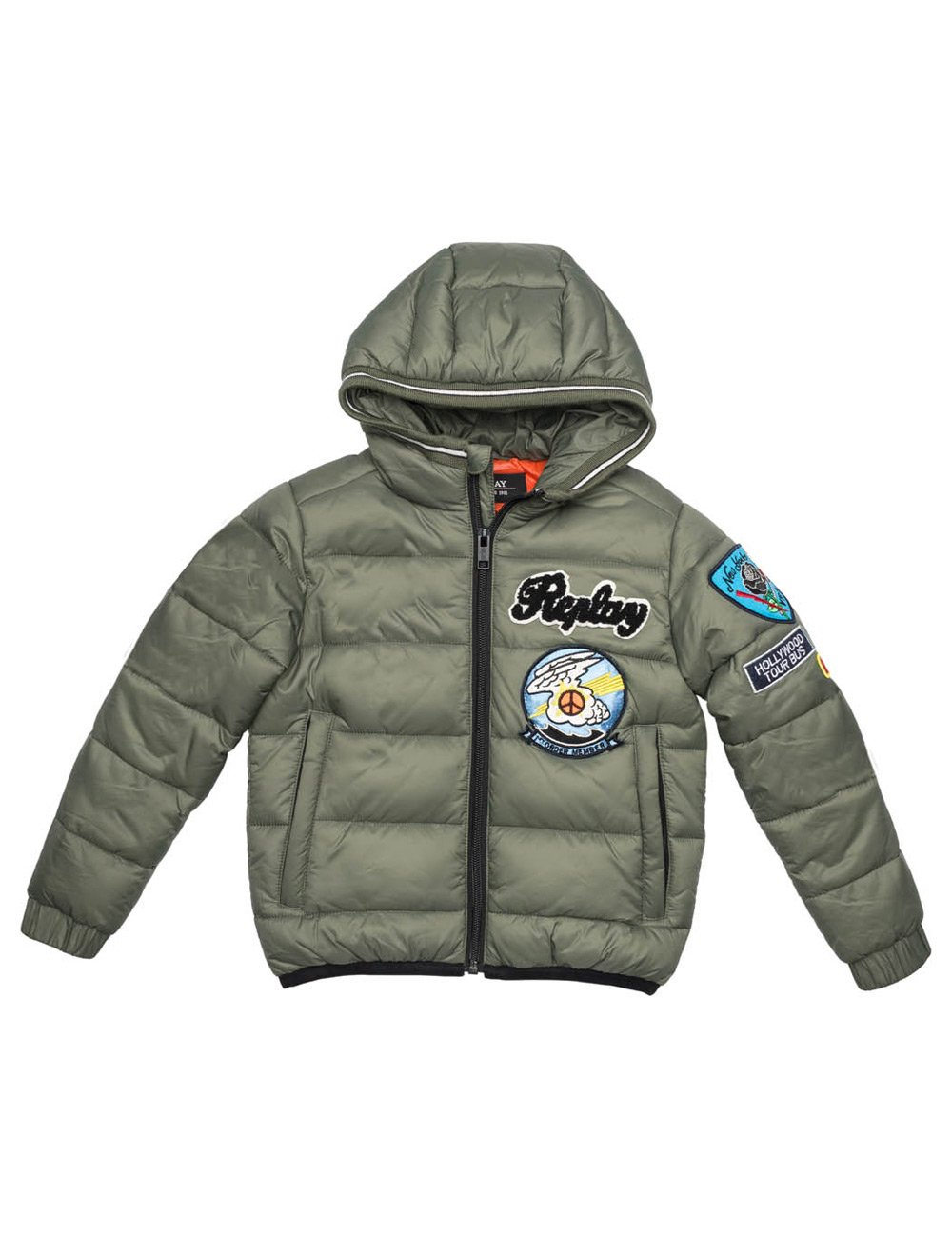 Replay Boy's Khaki Quilted Jacket With Patches in Size 6 Years Green