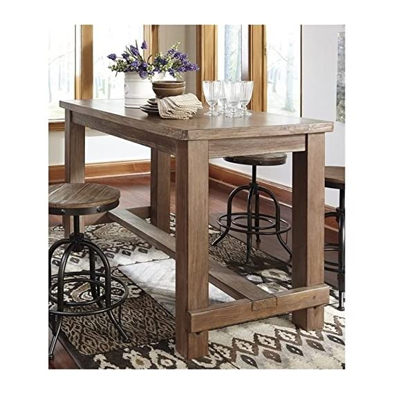 """BOWERY HILL Rectangular Counter Height 36"""" Dining Table in Rustic Light Brown - Finish: Light Brown Material: Select Pine Veneers and Solids Vintage Casual Style - kitchen-dining-room-furniture, kitchen-dining-room, kitchen-dining-room-tables - 610BVgclh8L. SS570  -"""