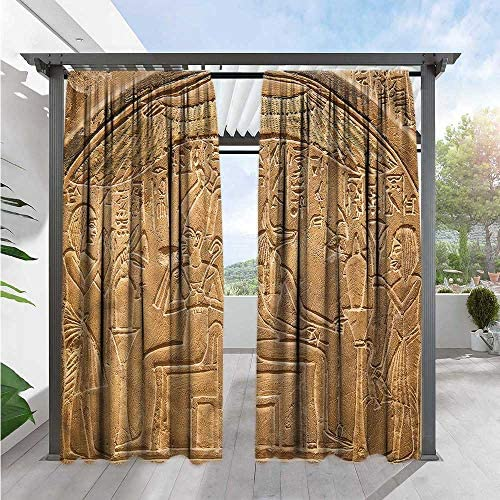 Marilds Egyptian Exterior Outside Curtains Hieroglyphs on The Wall Waterproof 84 W x 108 L