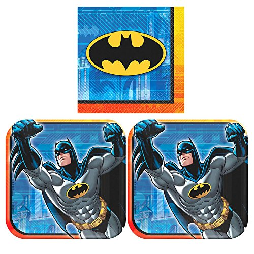 Batman Party Pack for 16 Guests - 16 Dessert Plates and 16 Beverage Napkins -