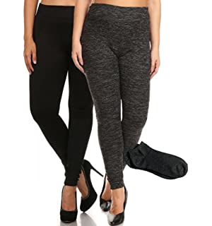 ab9785da1850b ShoSho Women s Everyday Warm Soft Solid Fleece Tight Leggings (Plus w Free  Socks