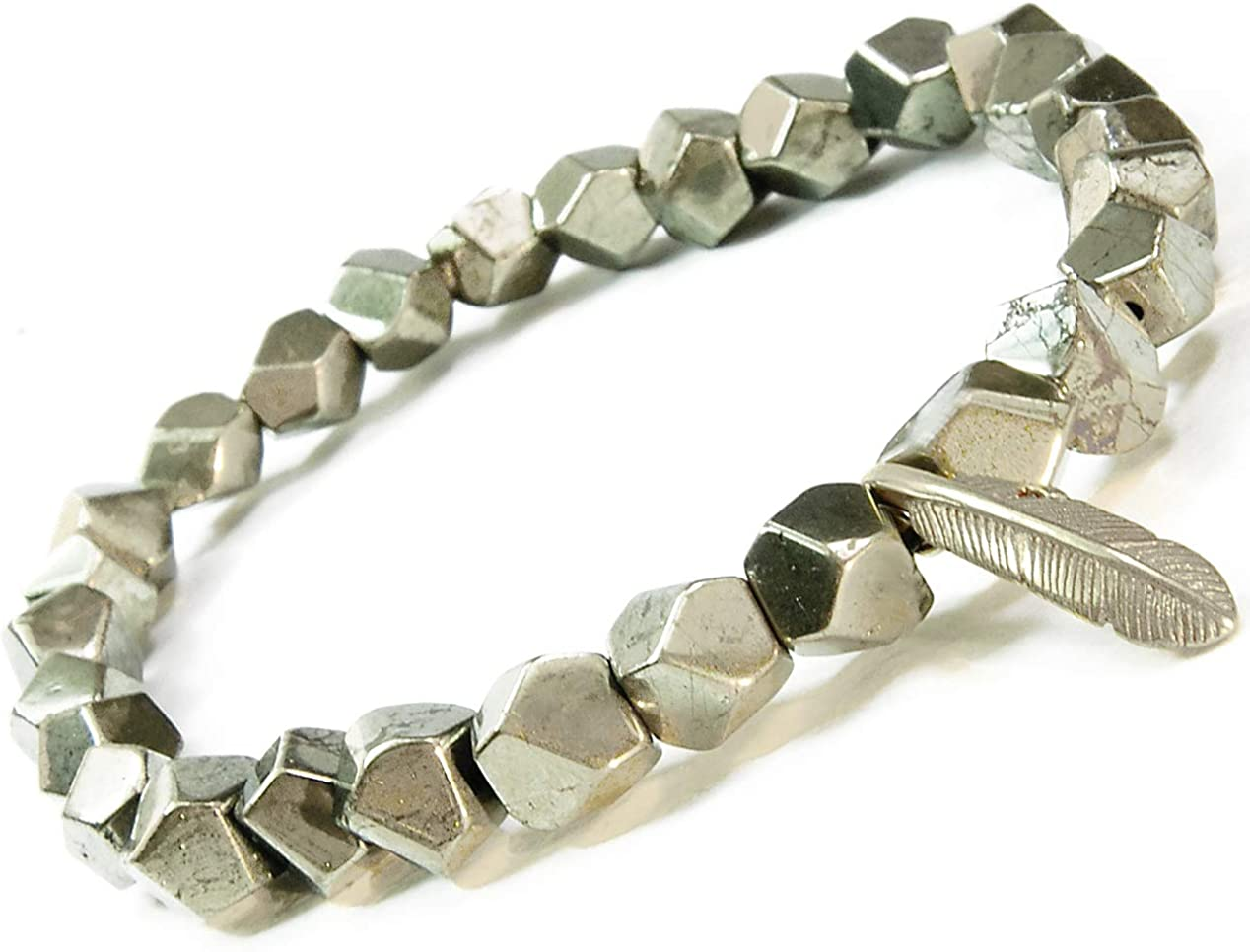 ONE ION Freedom's Pyrite Bracelet - 6mm Premium Pyrite and Brass Feather Pendant