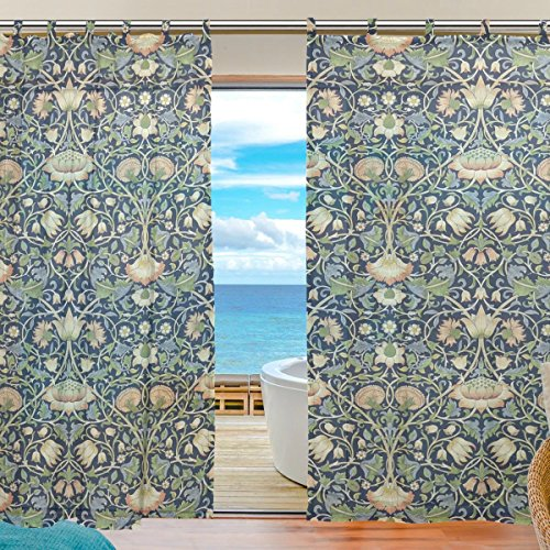 (INGBAGS Bedroom Decor Living Room Decorations William Morris Prints Pattern Print Tulle Polyester Door Window Gauze Sheer Curtain Drape Two Panels Set 55x78 inch ,Set of 2)