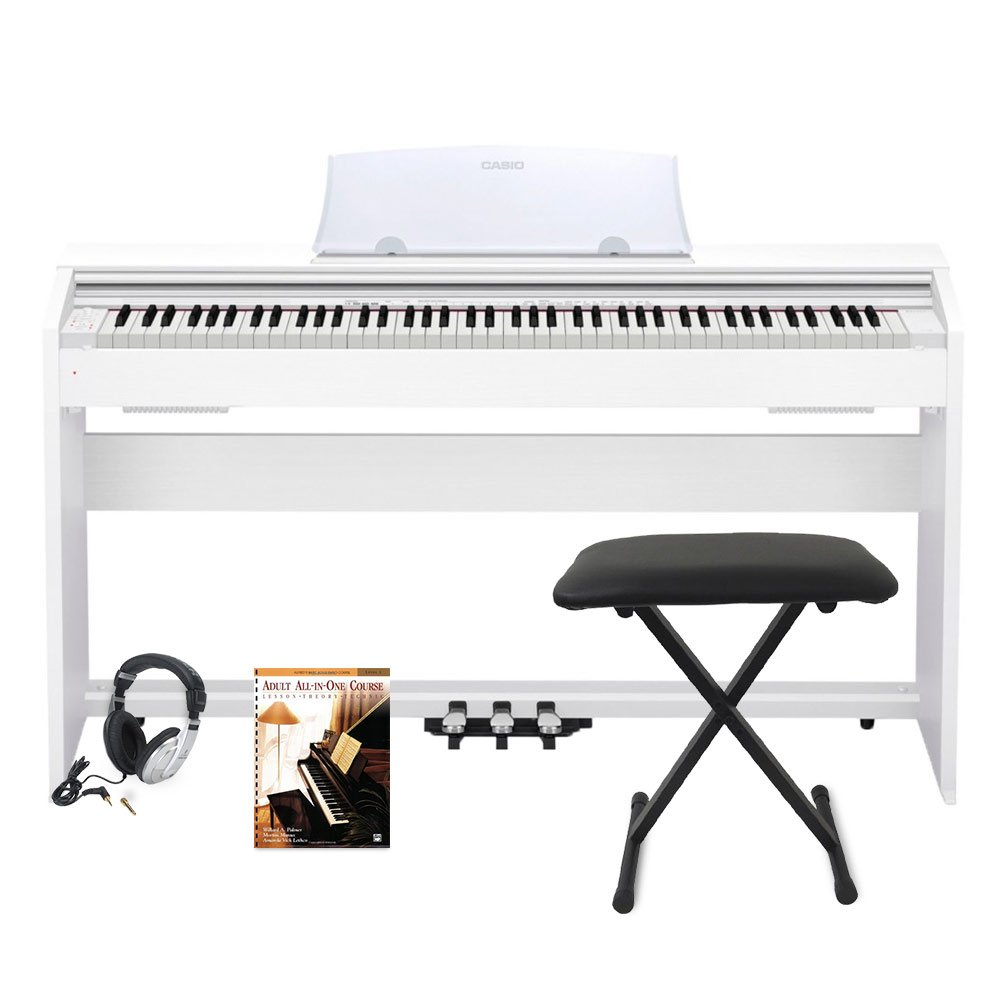 Casio PX770 WH Privia Digital Home Piano, White, with Bench and Adult All-In-One Course: Lesson-Theory-Technic: Level 1