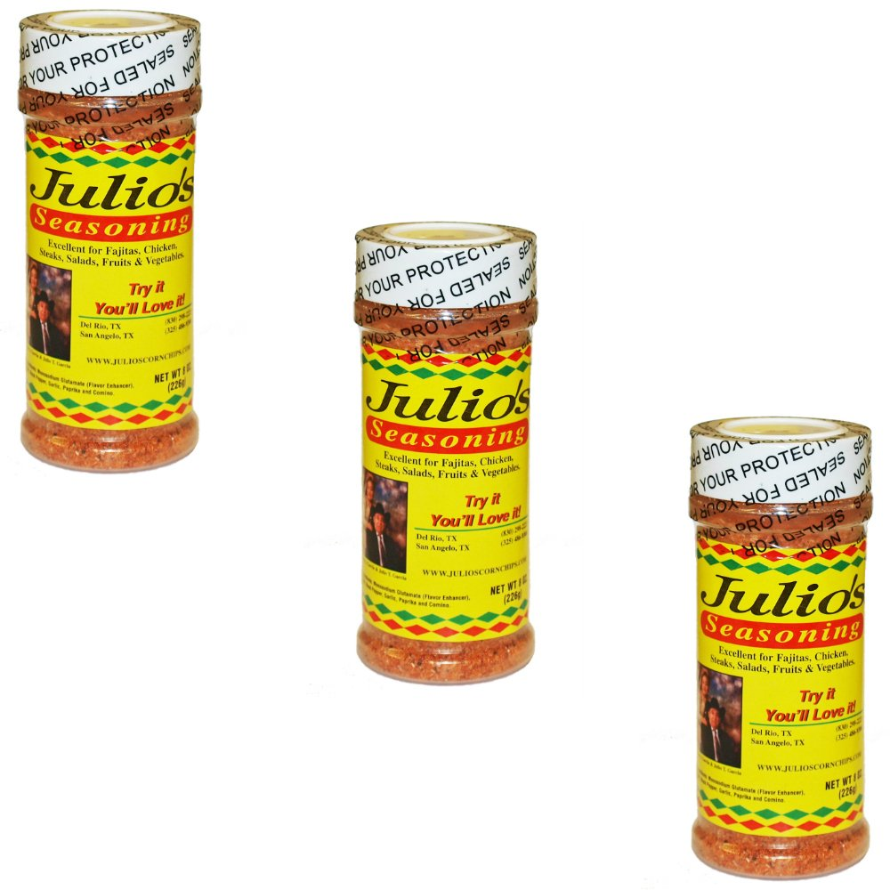 Julio's Seasoning - 24 oz - Use On Fajitas, Steaks, Pork, Chicken, or Vegetables - Three 8 oz Bottles