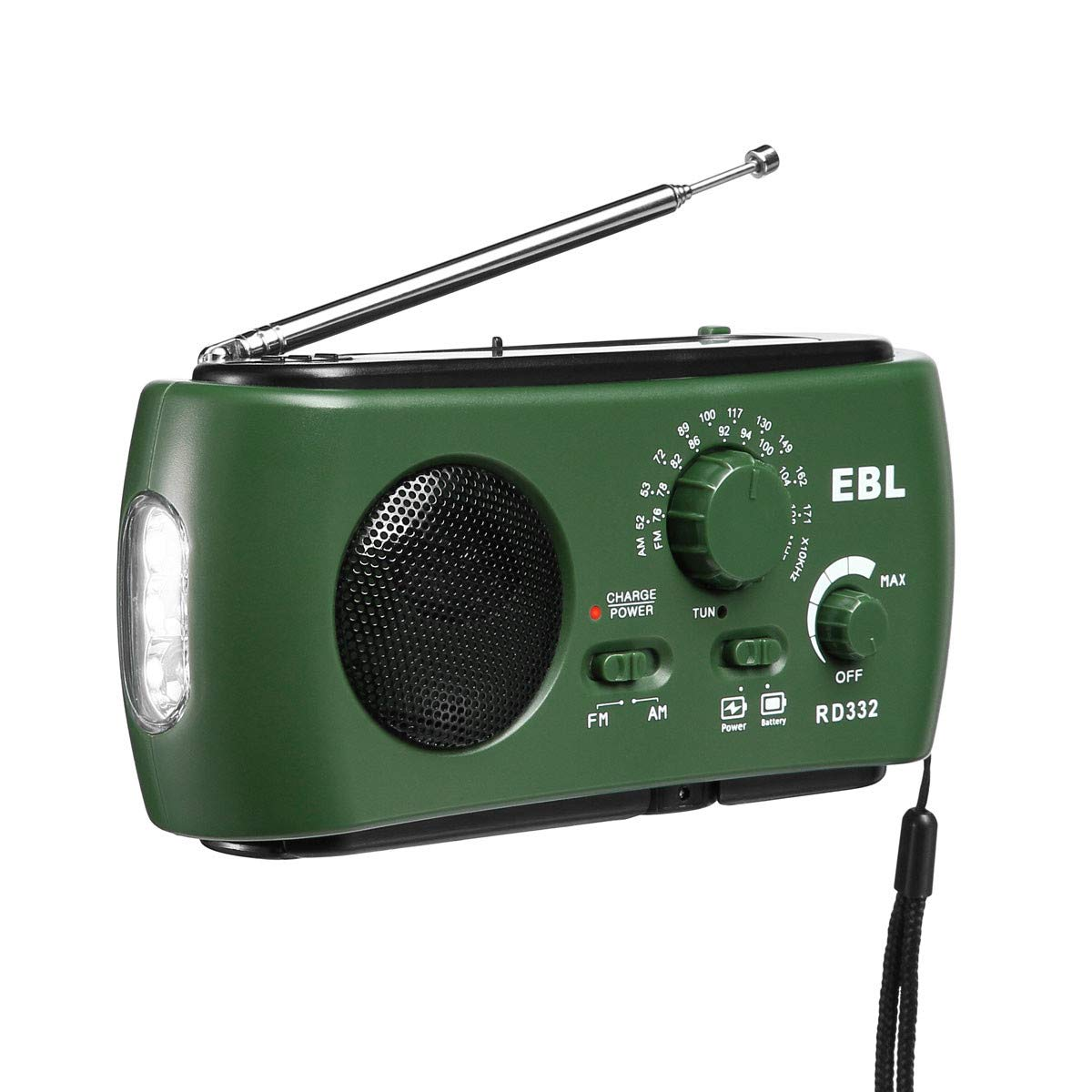 EBL Upgraded Portable Radio AM/FM Emergency Radio Compact Size with LED Flashlight Camp Solar/Hand Crank RADIO-332-GN