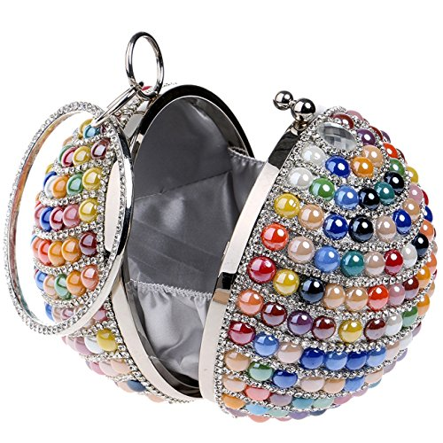 Women's Colorful Bags Beaded Ball Wedding Clutch Shape Pearls Handbag Purse Party Evening wRqUqa