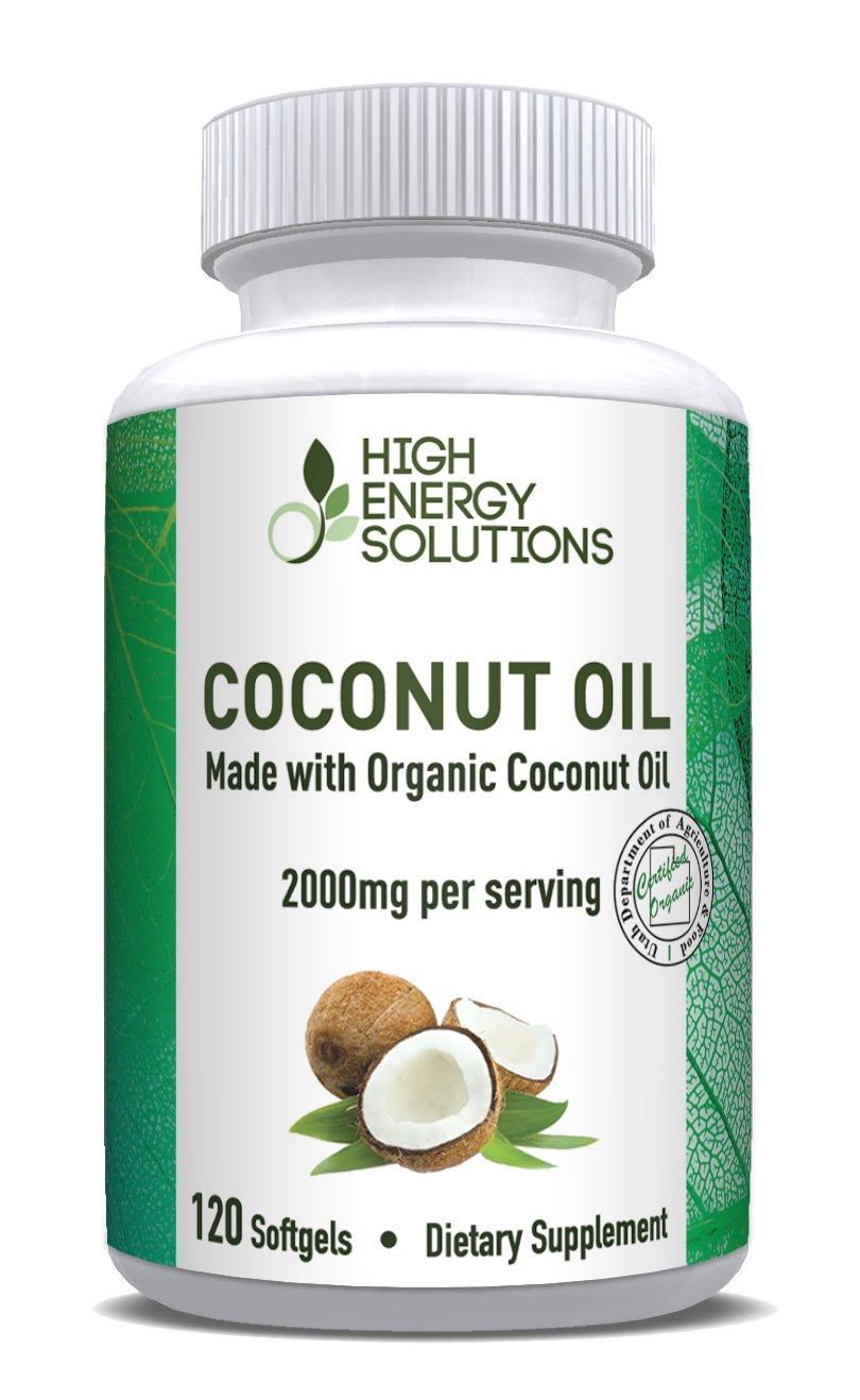 HIGH ENERGY SOLUTIONS Organic Coconut Oil Capsules Supplement Max Strength 2000mg! 120 Non-GMO Softgels For Ultimate Bioavailability And Absorption - Rich In MCFA and MCT