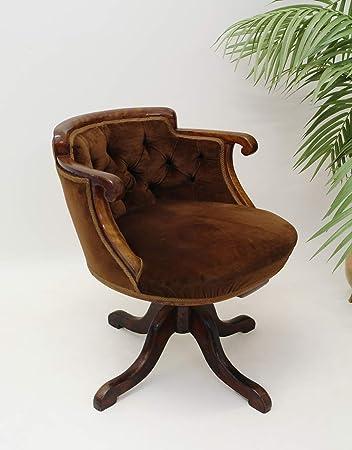 Bürostuhl antik  Drehbarer Sessel Bürostuhl Mahagoni Antik im englischen Stil um ...