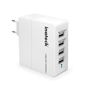 Inateck UC4001 - Cargador portatil de pared compacto 4 puertos USB 30W (5V 2A x 2 y 5V 1A x 2), color blanco