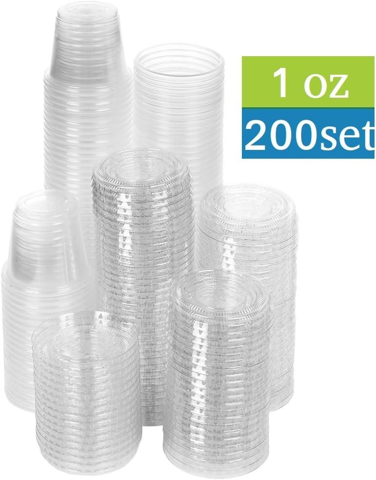 200 1 Oz Clear Plastic Disposable Jello Shot Condiments Portion Cups With Lids