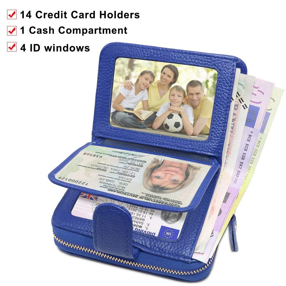 ENONEO Titular de Tarjeta de Credito Mujer RFID Monedero Tarjetero Mujer Cuero con 12 Ranuras para Tarjetas y 2 Ranuras de Moneda 4 ID Windows Cartera Mujer ...