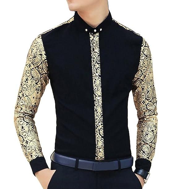 Ouye Hombres Floral de Oro Manga Larga Casuales Camisas  Amazon.es  Ropa y  accesorios ede09175c510