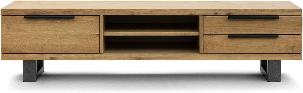 COMIFORT Mueble de TV - Mesa de Roble Macizo para Salón Moderno, Estilo Nórdico, con 3 Cajones y 2 Estantes, Patas de Acero con Acabado Negro, Color Ahumado: Amazon.es: Hogar