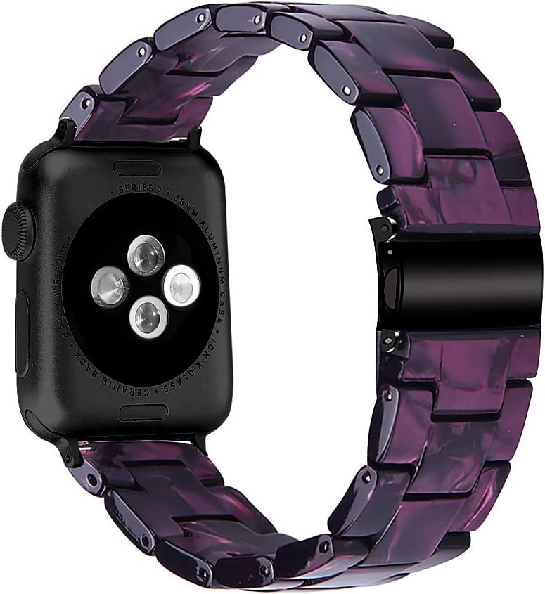 MEFEO Compatible with Apple Watch Band 38mm 40mm 42mm 44mm, Stylish Resin Bands Bracelet Replacement for iWatch Series 6 Series 5/4/3/2/1 & iWatch SE Women Men (Purple, 42mm/44mm)