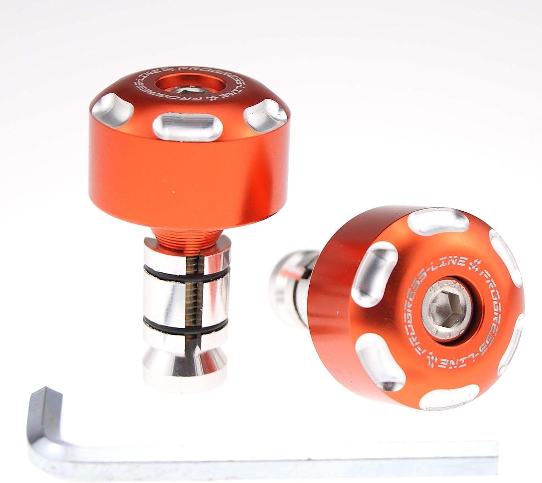 Lenkergewichte Vibrationsdämpfer Lenkerenden Motorrad Alu Paar 7 8 1 Ø14 19 Mm Orange Auto