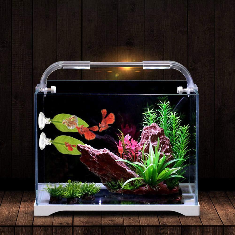 Mlec tech Hoja Artificial Cama Hamaca Betta Fish Desove de los Peces Betta Plantas de Acuario con Ventosa: Amazon.es: Productos para mascotas