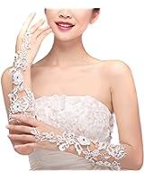 EUBUY Elegant White Bridal Lace Floral Fingerless Gloves for Wedding Party Prom