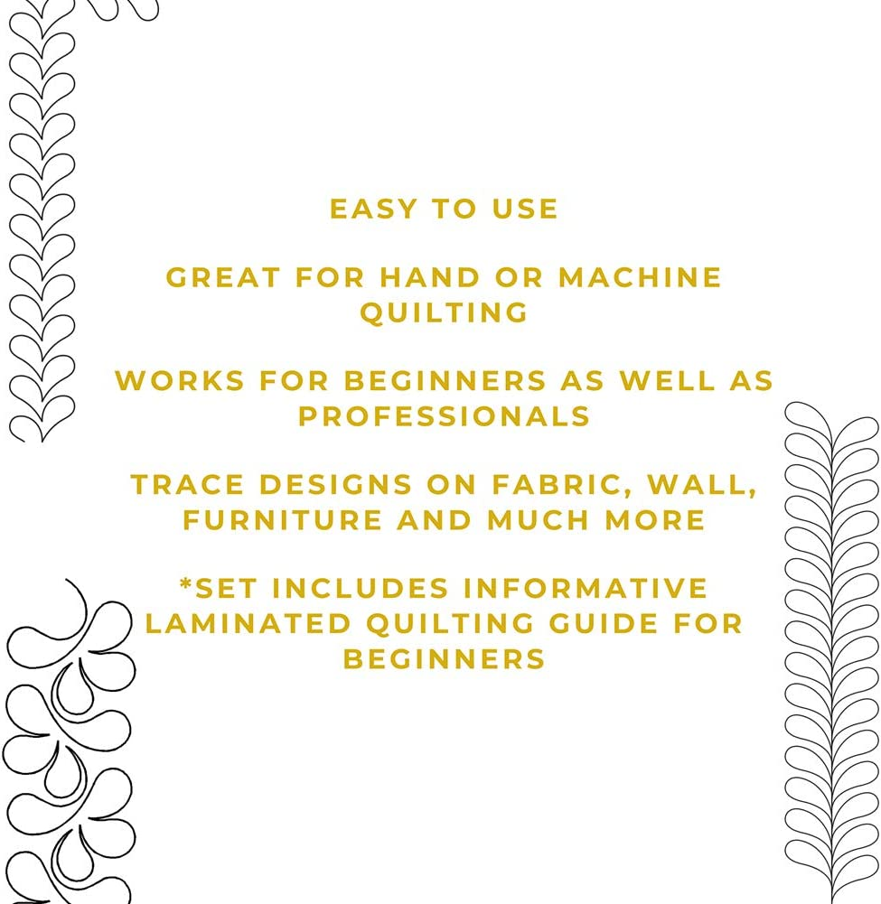 Patterns Feather Sashing Quilting Creations Stencils for Machine and Hand Quilting Sashing Border Splish Splash Design Stencil Set with Guide Set of 3 Quilt Plastic Stencils for Borders
