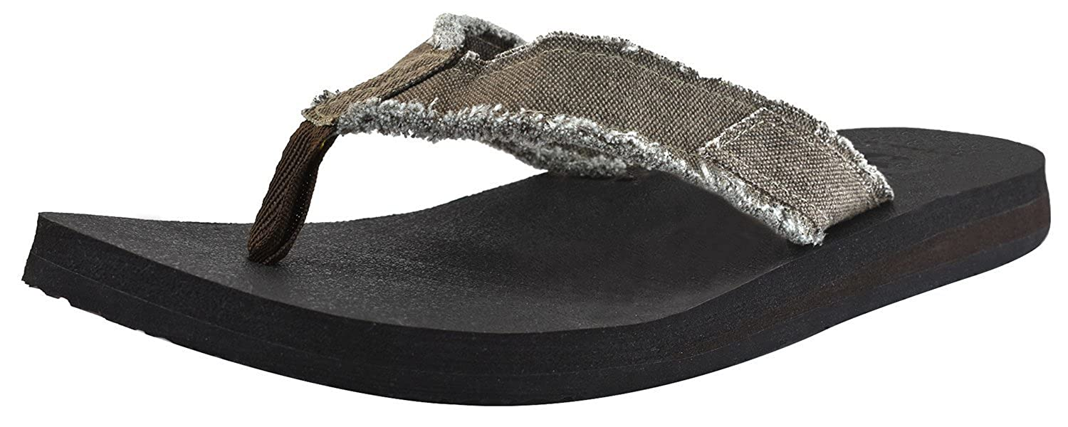 Canvas Men's Flip Flops Cushion Yoga Foam Thong Sandals Non Slip