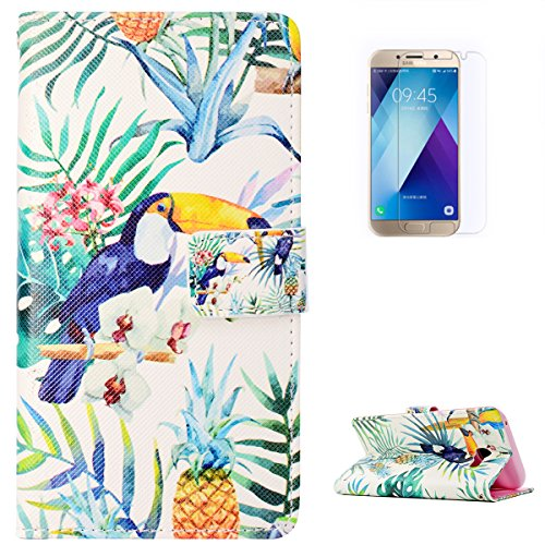 KaseHone Galaxy A5(2017) Case [Free Screen Protector], Folio Leather Wallet Case Elegant Pattern with Card Slots & Kickstand Flip Magnetic Anti-Scrach Slim Cover Shell - Pineapple Bird ()