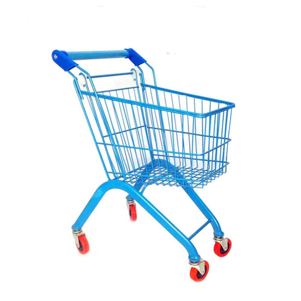 LI MING SHOP 子供用スーパーマーケットショッピングカートトロリー子供用プレイハウスおもちゃの車金属収納車 (色 : Blue48x32x66cm)  Blue48x32x66cm B07QB2TPMF
