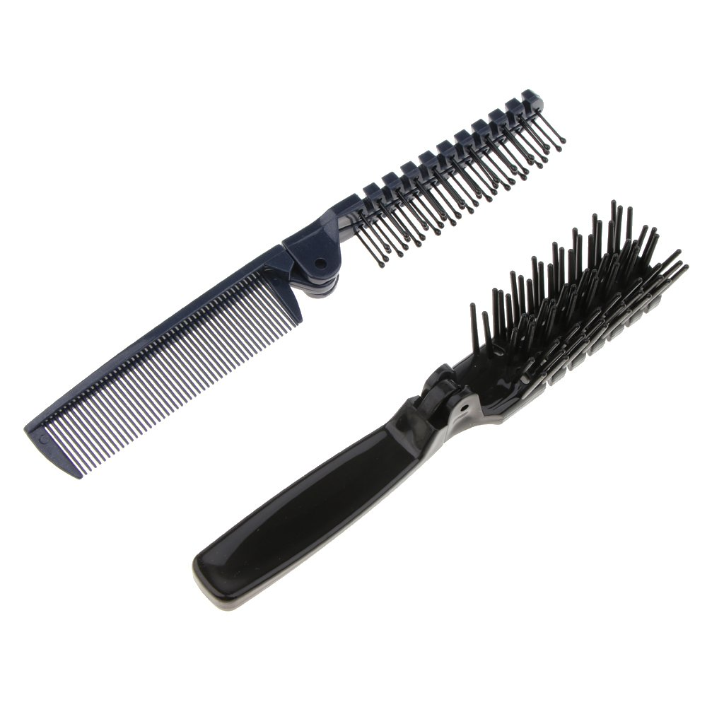 SM SunniMix 2Pcs Portable Dual Head Hair Brush Pocket Folding Massage Travel Comb Set