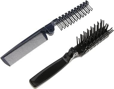 Dolity 2x Lovely Multifunction Foldable Pocket Travel Hairbrush Massage Scalp Comb