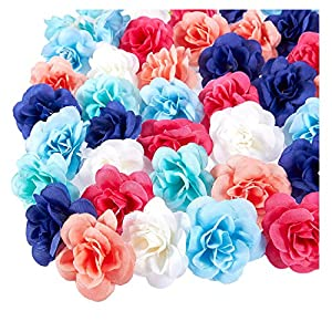 Juvale Artificial Flower Heads - 60-Pack Fabric Fake Flowers for Wedding Decorations, Baby Showers, DIY Crafts, Mixed Colors, 1.5 x 1.5 x 1.2 Inches 1