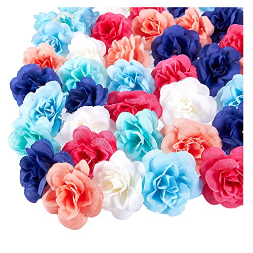Juvale Artificial Flower Heads - 60-Pack Fabric Fake Flowers for Wedding Decorations, Baby Showers, DIY Crafts, Mixed Colors, 1.5 x 1.5 x 1.2 Inches