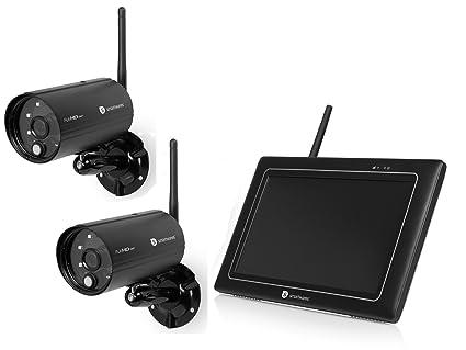 WiFi Vigilancia Set con Monitor, Detector de Movimiento y visión Nocturna, Free App